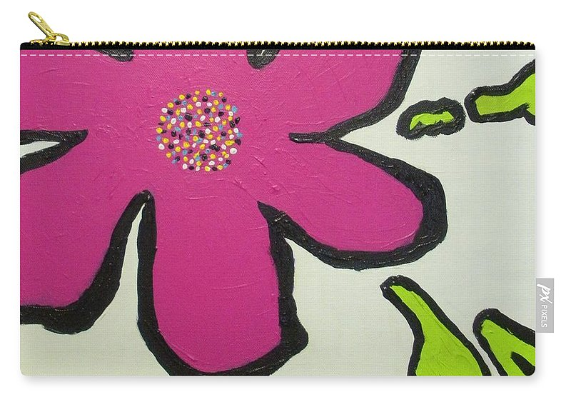 Flower Carry-all Pouch featuring the painting Pop Art Pansy by Maria Bonnier-Perez