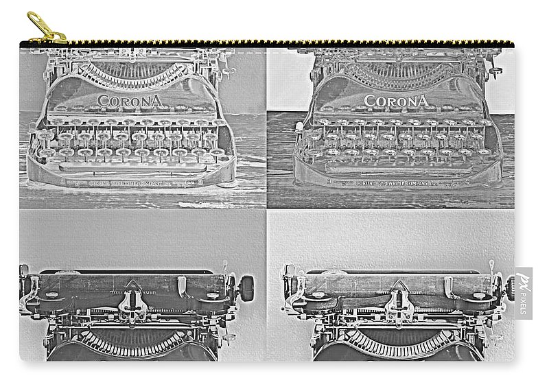 Vintage Typewriter Carry-all Pouch featuring the digital art Pop Art Typewriter Collage Black And White by David Hinds