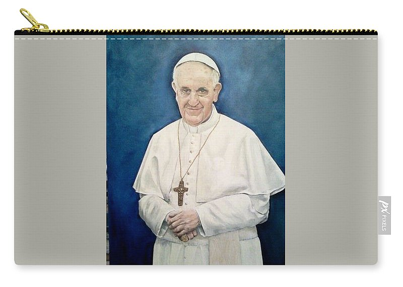 Pope Francis Carry-all Pouch featuring the painting Pope Francis by Yolanda Bello