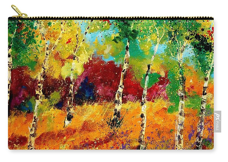 Poppy Carry-all Pouch featuring the painting Poplars '459070 by Pol Ledent