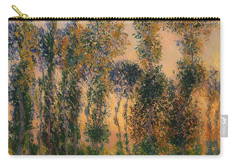 Painting Carry-all Pouch featuring the painting Poplars At Giverny - Sunrise by Mountain Dreams
