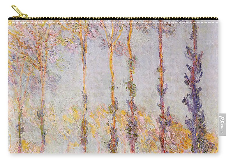 Poplars On The Banks Of The Epte Carry-all Pouch featuring the painting Poplars On The Banks Of The Epte by Claude Monet