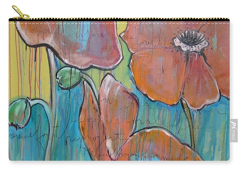 Pop Art Carry-all Pouch featuring the painting Poppies 3 by Laurie Maves ART