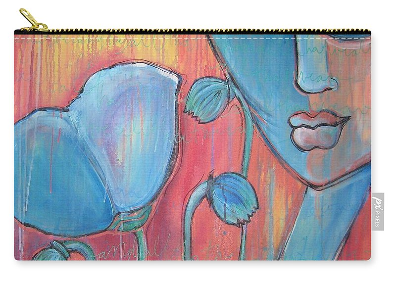 Pop Art Carry-all Pouch featuring the painting Poppies 7 Luna Let Me Go by Laurie Maves ART