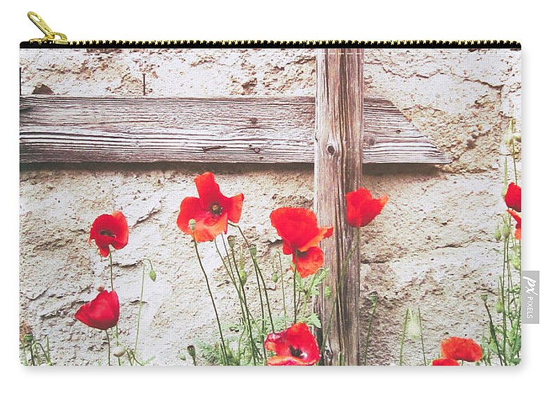 Copy Space Carry-all Pouch featuring the photograph Poppies Against Wall by Silvia Ganora