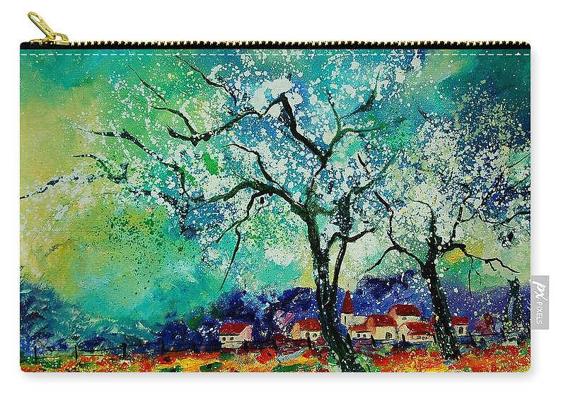Landscape Carry-all Pouch featuring the painting Poppies And Appletrees In Blossom by Pol Ledent