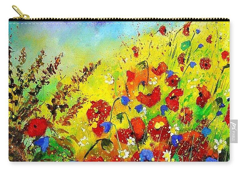 Poppies Carry-all Pouch featuring the print Poppies And Blue Bells by Pol Ledent