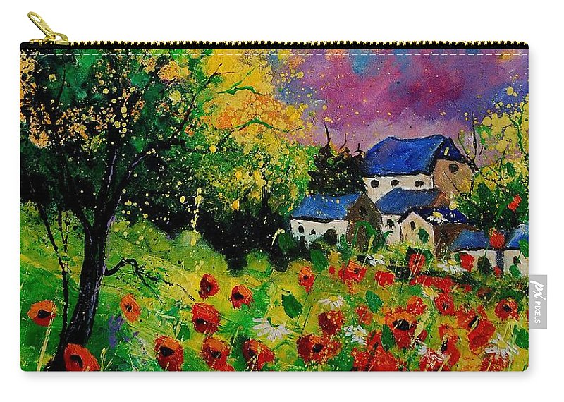 Landscape Carry-all Pouch featuring the painting Poppies And Daisies 560110 by Pol Ledent