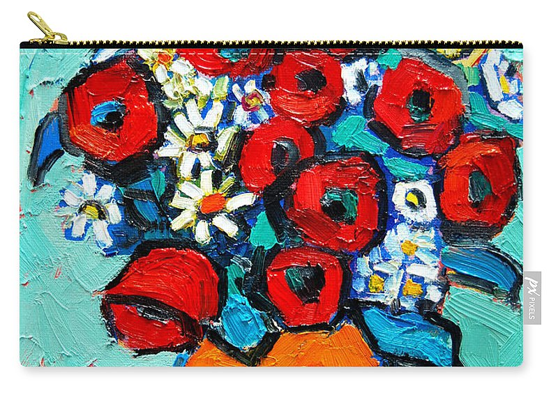 Floral Carry-all Pouch featuring the painting Poppies And Daisies Bouquet by Ana Maria Edulescu
