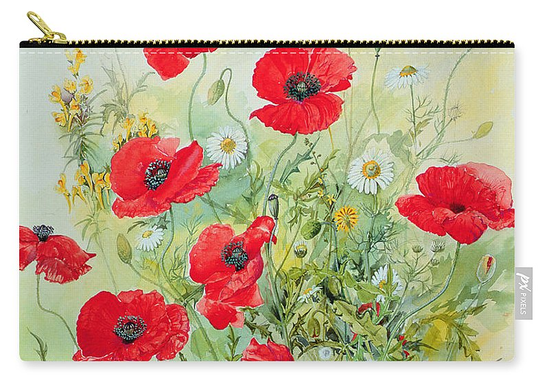 Flowers; Botanical; Flower; Poppies; Mayweed; Leaf; Leafs; Leafy; Flower; Red Flower; White Flower; Yellow Flower; Poppie; Mayweeds Carry-all Pouch featuring the painting Poppies And Mayweed by John Gubbins