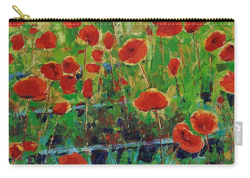 Poppies Carry-all Pouch featuring the painting Poppies And Traverses 1 by Iliyan Bozhanov