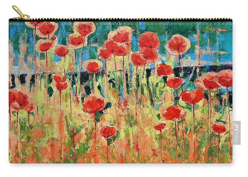 Poppies Carry-all Pouch featuring the painting Poppies And Traverses 2 by Iliyan Bozhanov
