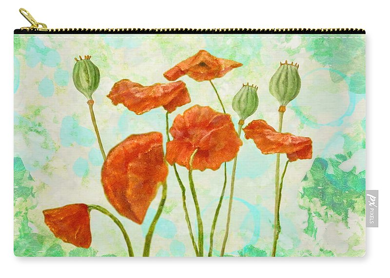 Poppies Carry-all Pouch featuring the mixed media Poppies by Angeles M Pomata