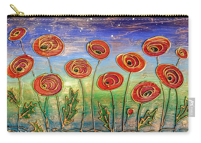 Poppies Carry-all Pouch featuring the painting Poppies At Night by Agnieszka Adamska