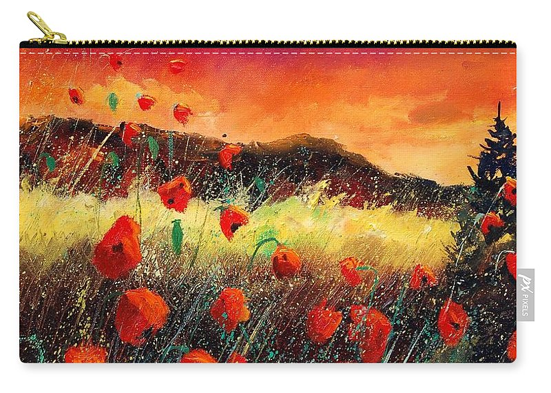 Poppies Carry-all Pouch featuring the painting Poppies At Sunset 67 by Pol Ledent
