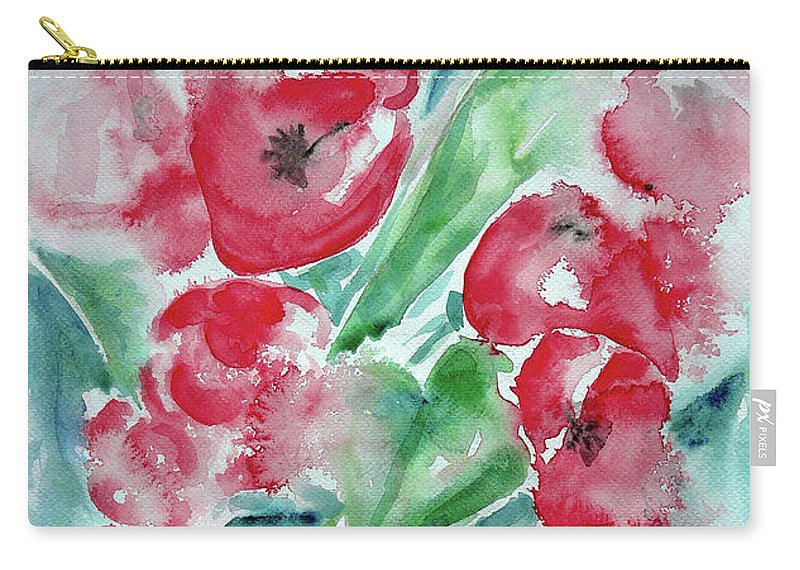 Poppies Celebration Carry-all Pouch featuring the painting Poppies Celebration by Jasna Dragun