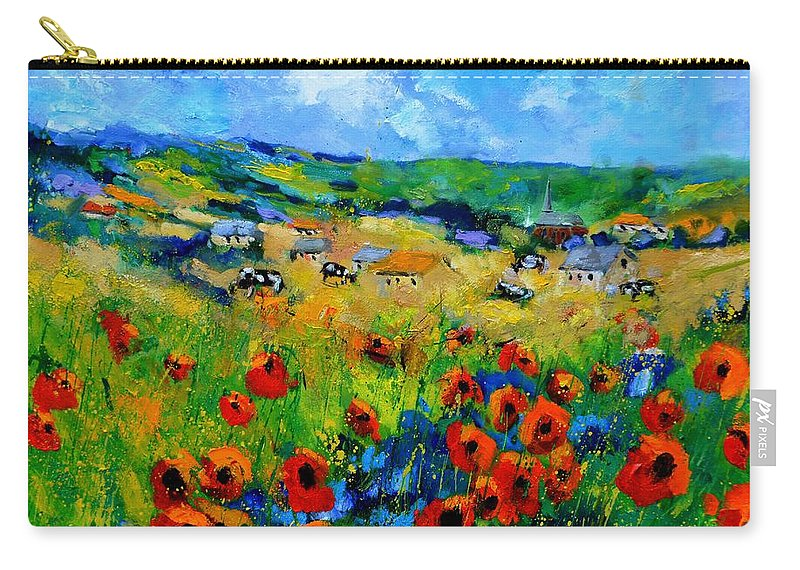 Landscape Carry-all Pouch featuring the painting Poppies in Ieper by Pol Ledent