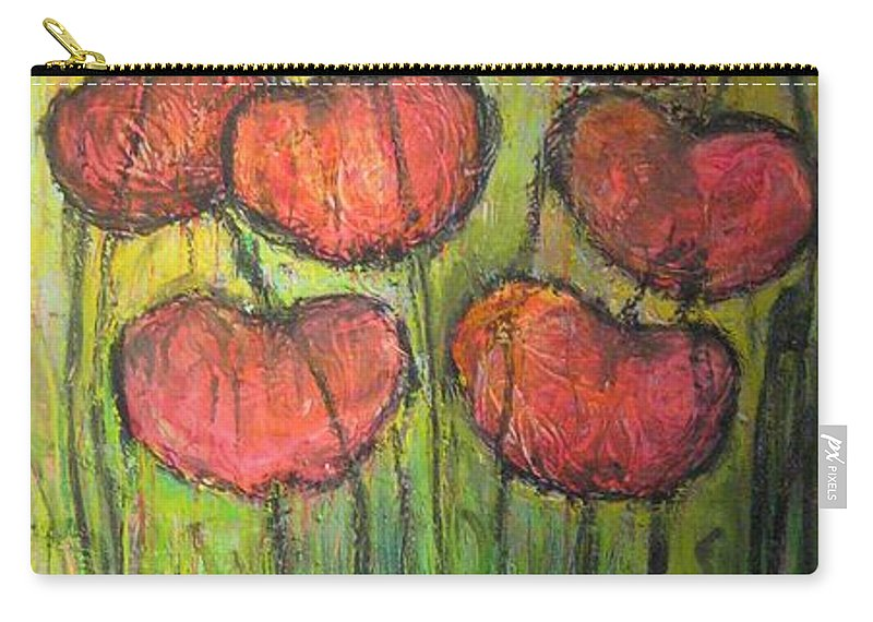 Poppies Carry-all Pouch featuring the painting Poppies In Oil by Laurie Maves ART