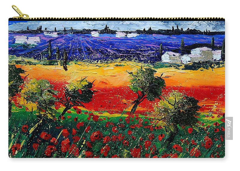 Poppy Carry-all Pouch featuring the painting Poppies In Provence by Pol Ledent