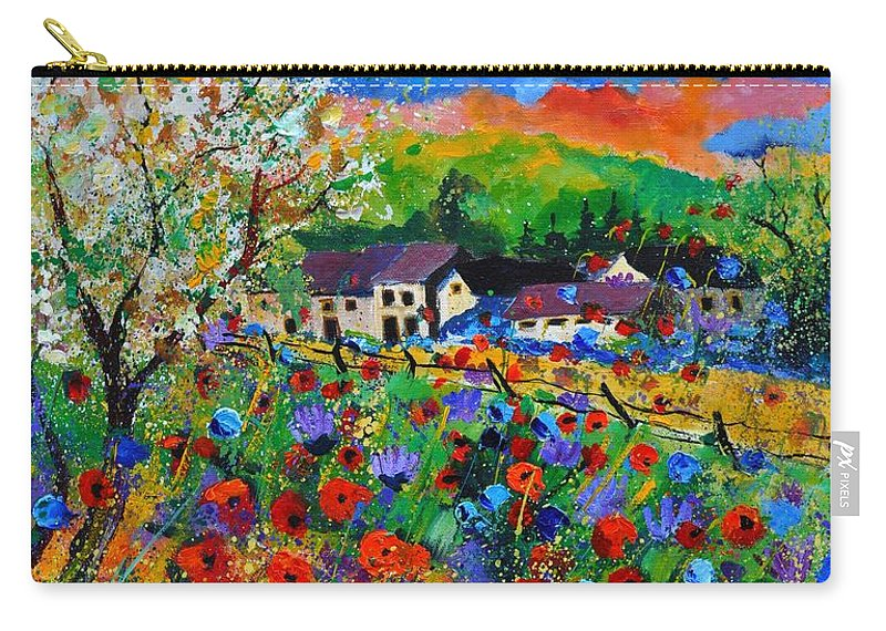 Poppies Carry-all Pouch featuring the painting Poppies In Sorinnes by Pol Ledent