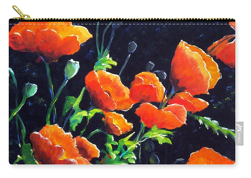 Pavot Carry-all Pouch featuring the painting Poppies In The Light by Richard T Pranke