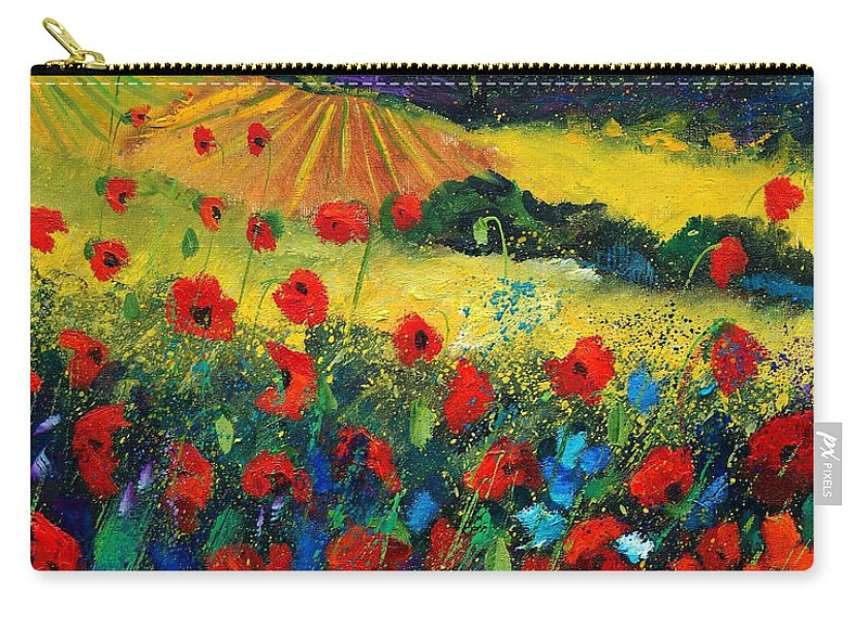 Flowers Carry-all Pouch featuring the painting Poppies In Tuscany by Pol Ledent