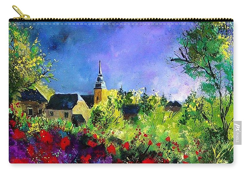 Flowers Carry-all Pouch featuring the painting Poppies In Villers by Pol Ledent