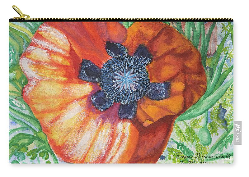 Orange Carry-all Pouch featuring the painting Poppies by Roger Grammond