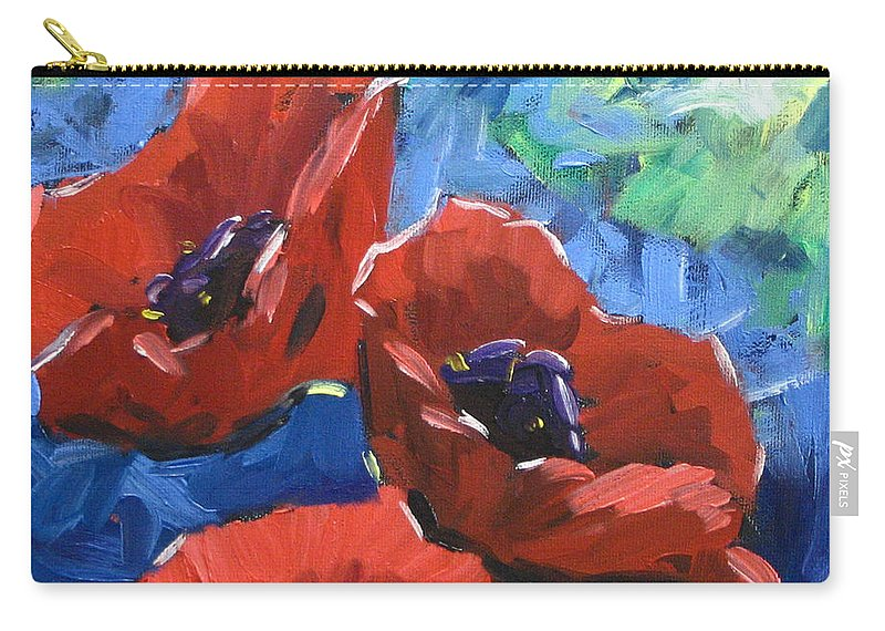 Art Carry-all Pouch featuring the painting Poppies Splender by Richard T Pranke