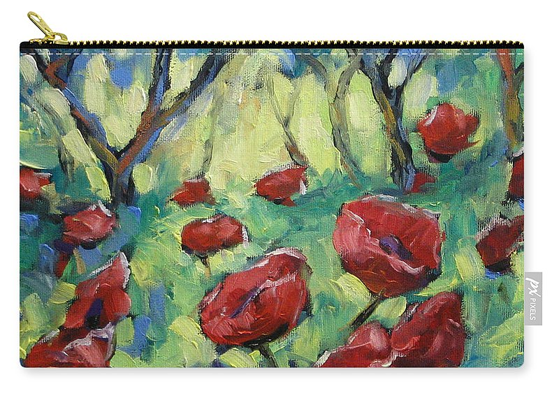 Art Carry-all Pouch featuring the painting Poppies Through The Forest by Richard T Pranke