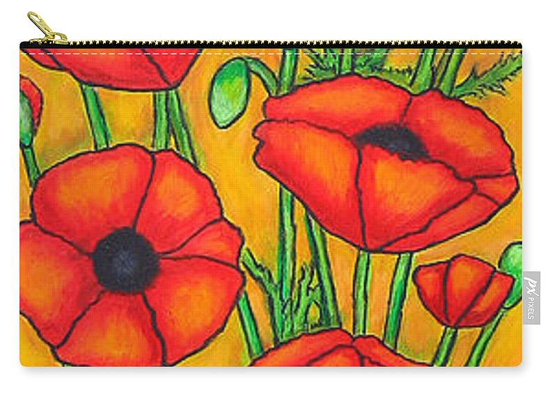Poppies Carry-all Pouch featuring the painting Poppies Under The Tuscan Sun by Lisa Lorenz