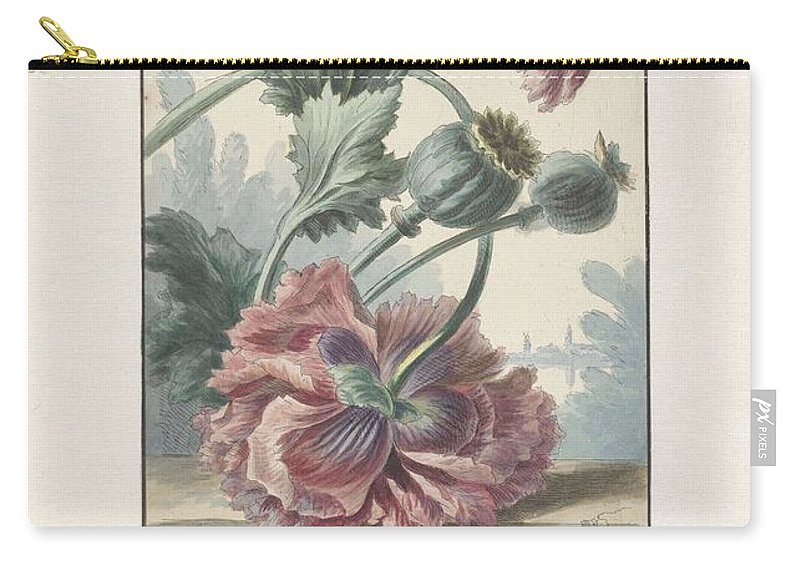 Flower Carry-all Pouch featuring the painting Poppies, Willem Van Leen, 1804 by Willem van Leen
