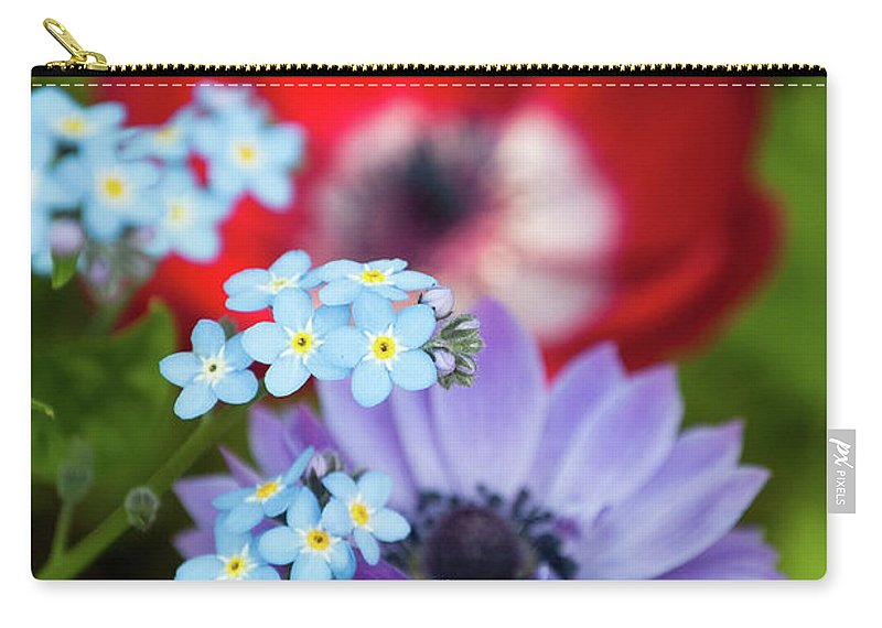 Red Carry-all Pouch featuring the photograph Poppy And Friends by Trish Tritz