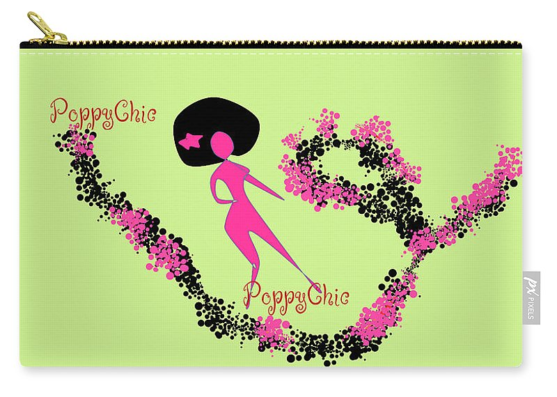 Girls Carry-all Pouch featuring the digital art Poppy Chic Dance by Shirlena Rudder
