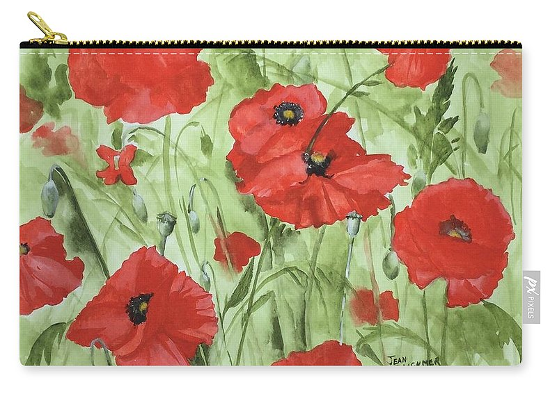 Red Carry-all Pouch featuring the painting Poppy Field 1 by Jean Blackmer