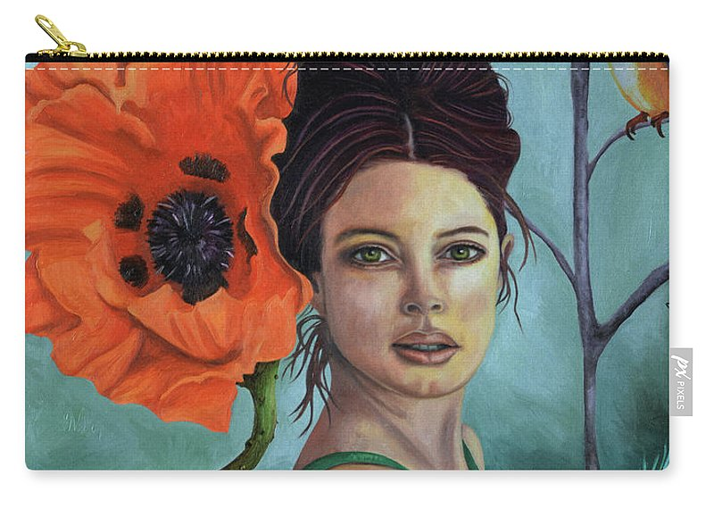 Poppy Carry-all Pouch featuring the painting Poppy Updated Photo by Leah Saulnier The Painting Maniac