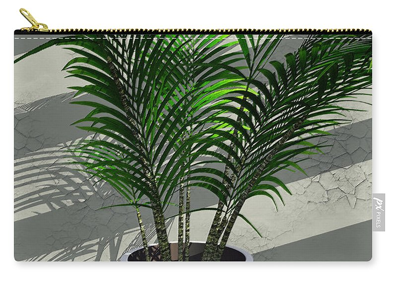 Palms Carry-all Pouch featuring the digital art Porch Plant by Richard Rizzo