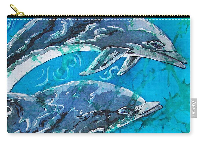 Porpoise Carry-all Pouch featuring the painting Porpoise Pair - Close Up by Sue Duda