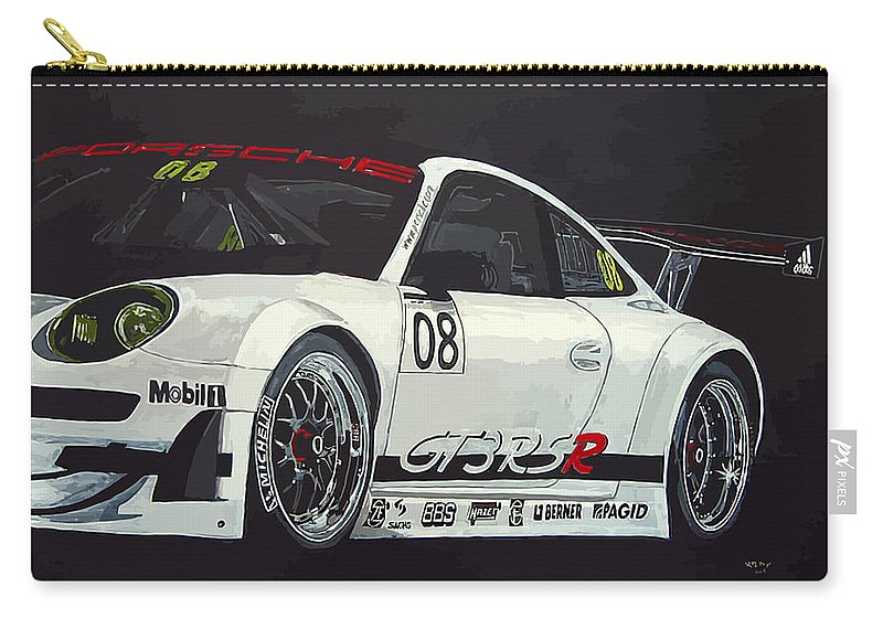 Car Carry-all Pouch featuring the painting Porsche Gt3 Rsr by Richard Le Page