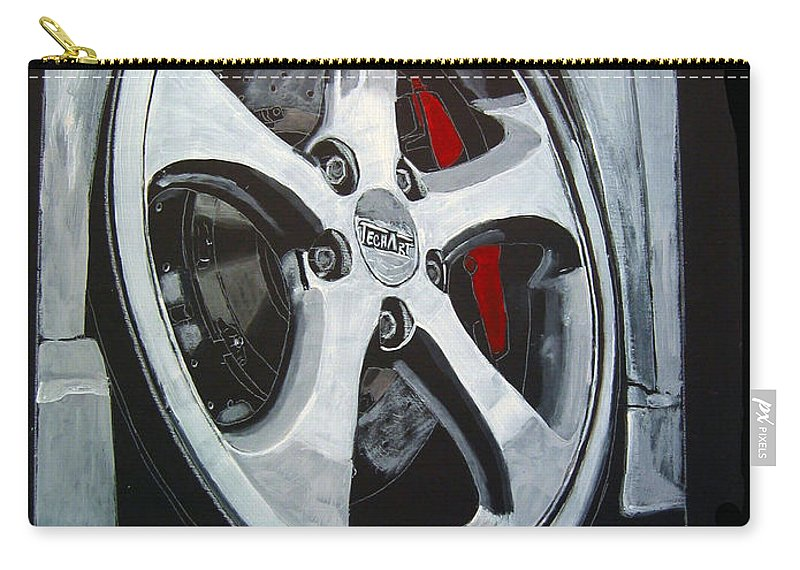 Porsche Carry-all Pouch featuring the painting Porsche Techart Wheel by Richard Le Page