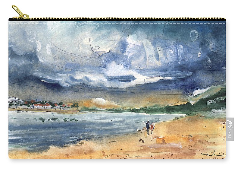 Travel Carry-all Pouch featuring the painting Port Alcudia Beach 03 by Miki De Goodaboom