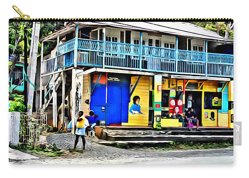 Port Antonio Carry-all Pouch featuring the digital art Port Antonio by Anthony C Chen