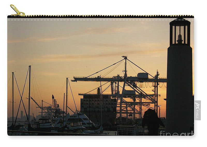 Oakland Carry-all Pouch featuring the photograph Port of Oakland Sunset by Carol Groenen