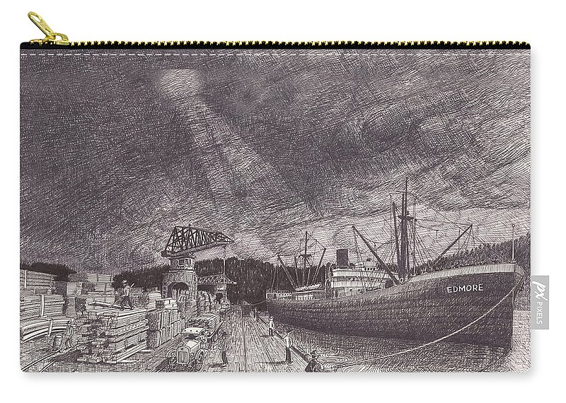 Port Of Tacoma Carry-all Pouch featuring the drawing Port Of Tacoma Wa Waterfront by Jack Pumphrey