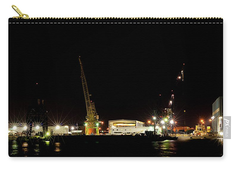 Port Carry-all Pouch featuring the photograph Port Of Tampa At Night by Carolyn Marshall