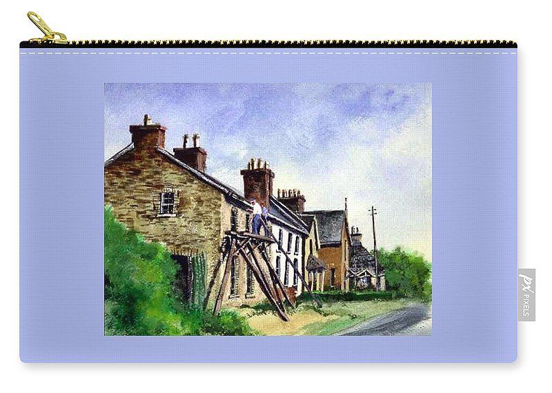 Water Color Carry-all Pouch featuring the painting Port Rush Gutter Repair by Jim Gola