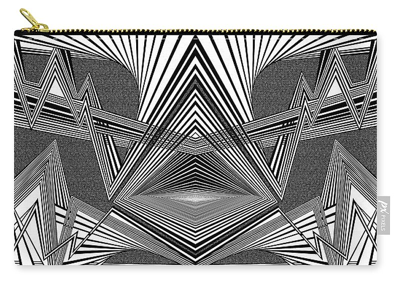 Dynamic Black And White Carry-all Pouch featuring the painting Portal Opening by Douglas Christian Larsen