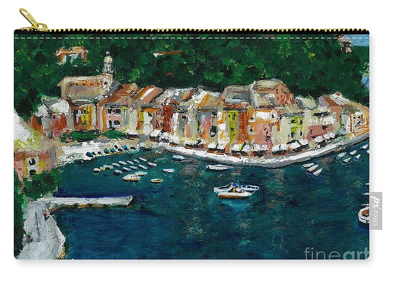 Abstact Italy Carry-all Pouch featuring the painting Portifino Italy by Frances Marino