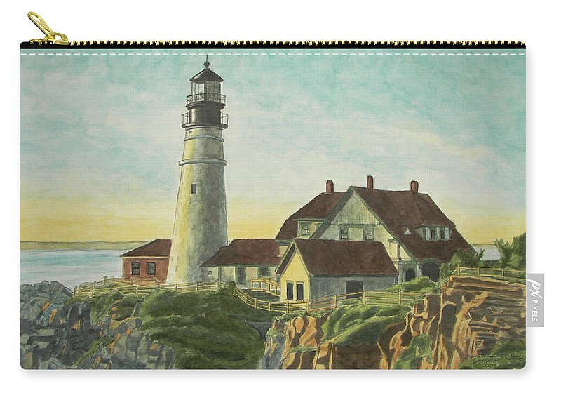 Lighthouse Carry-all Pouch featuring the painting Portland Head Light At Sunrise by Dominic White