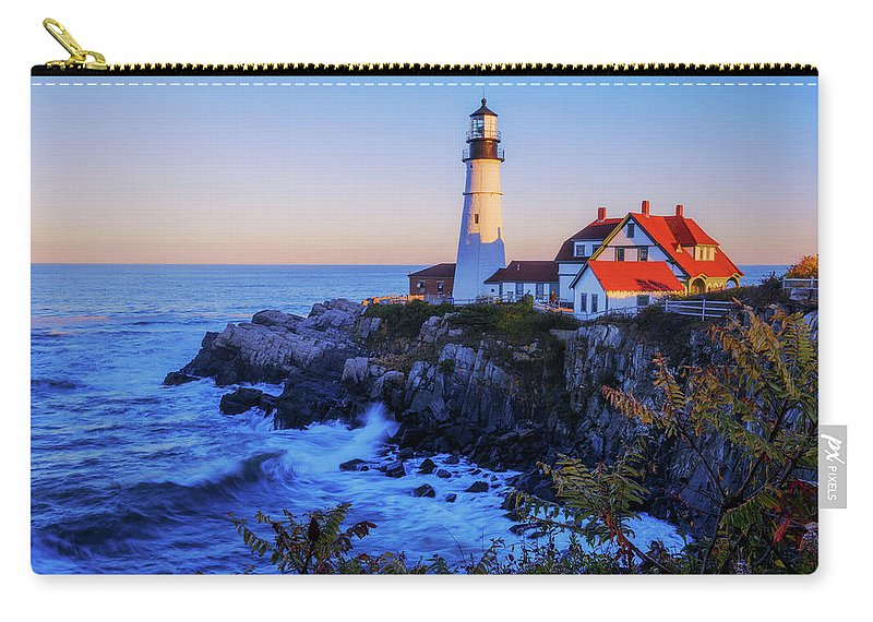 Portland Head Light Carry-all Pouch featuring the photograph Portland Head Light II by Chad Dutson